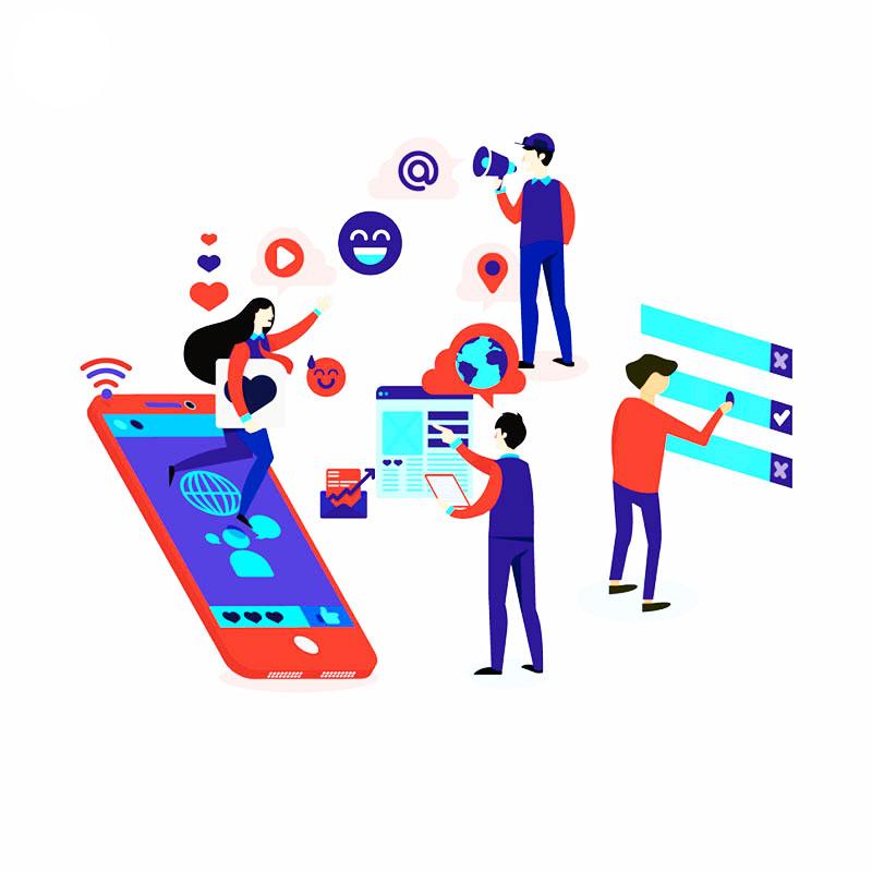 общуване в социални медии - анимирано изображение
